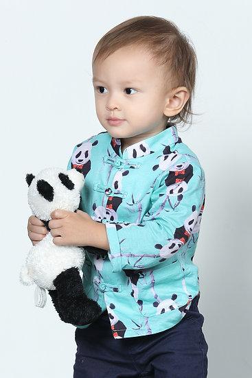 Yi-ming - Boys - Leonlollipop Panda Print Cotton Oriental Jacket