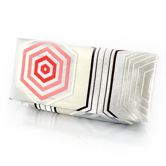Kimono Obi Envelope Clutch Bag In Hexagon Kikko