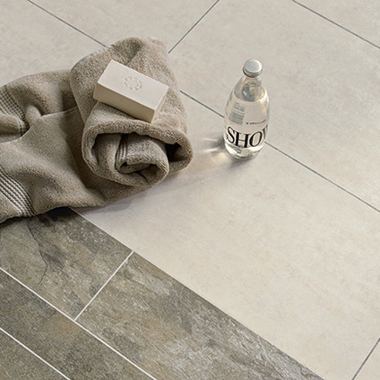 2319 Ocean Slate with Pearl Grouting Strip and  White Metalstone with Grey Grouting Strip