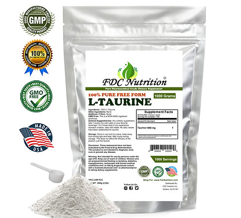 100% PURE L-TAURINE AMINO ACID POWDER USP GRADE MUSCLE ENERGY ALL SIZE
