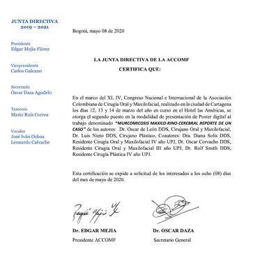 Premio Científico Nacional - presentación caso tratamiento Mucormicosis Maxilo-Rino-Cerebral