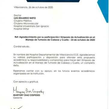 Conferencista en SimposioActualización Manejo Tumores Cabeza y Cuello - Villavicencio