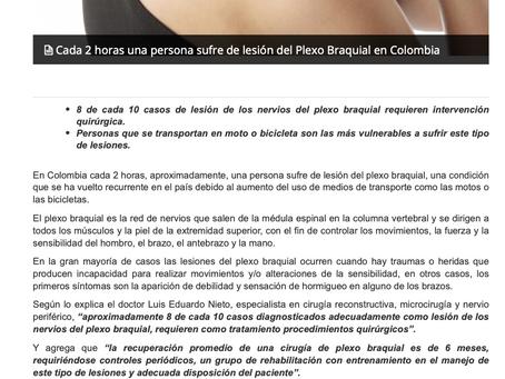 CADA 2 HORAS UNA PERSONA SUFRE LESION DE PLEXO BRAQUIAL EN COLOMBIA