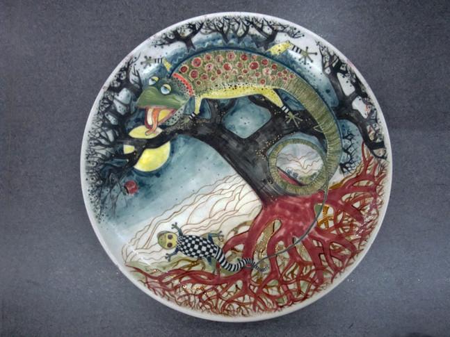 彩繪蜥蜴瓷盤
