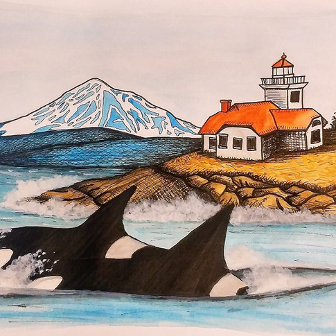 Light house on Patos Island, WA with Orcas Whales