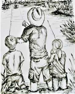 Father and kids fishing