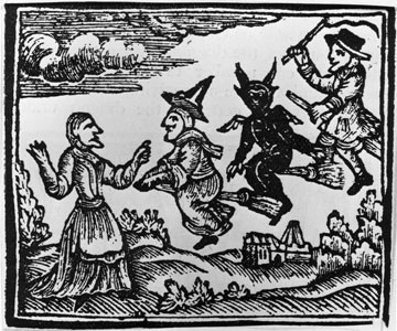 woodcut c. 1750 Witches riding broom