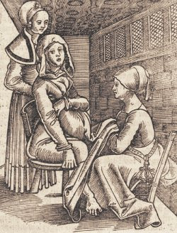 Woman giving birth on a chair, Eucharius Rösslin, 1513