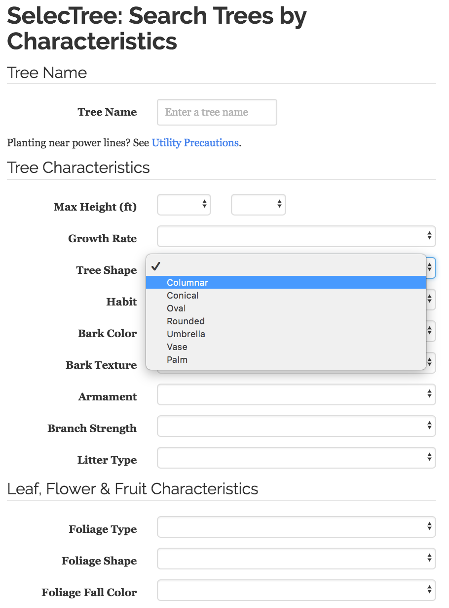 SelecTree's Search Trees by Characteristics feature.