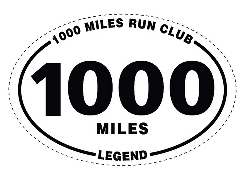 "4x 6"" Outdoor Oval Car Magnet  - 1000 MILES -  1000 mile run club - Legend"