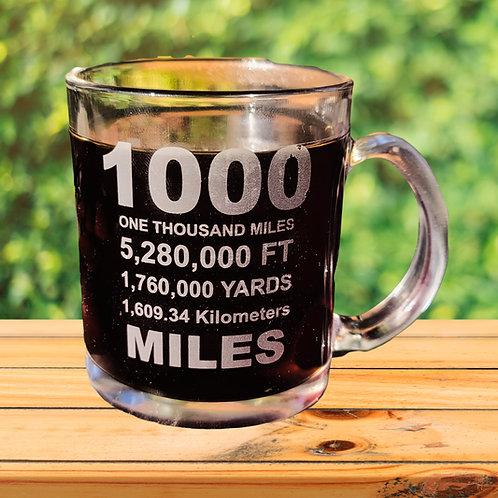 12 OZ ETCHED COFFEE MUG - 1000 MILES