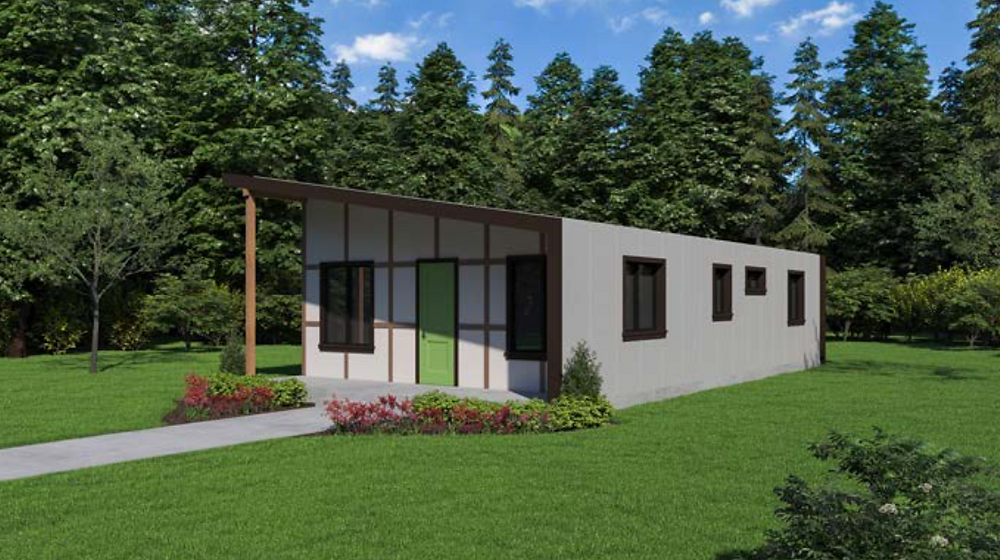 Modern compact home designed for fire prone zone