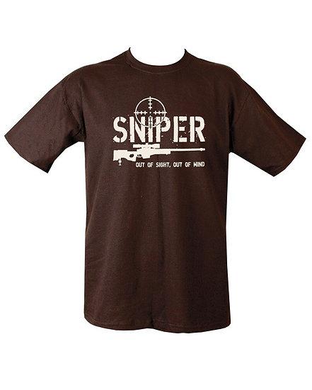 """Triko s potiskem """"Sniper"""", černé"""