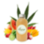hemp iced tea bottle + fruits centrepiec
