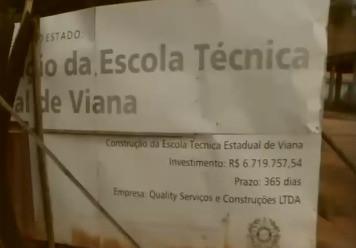 Iniciadas em 2014, obras da escola técnica de Viana não tiveram sequência