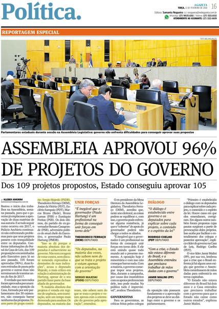 A Gazeta - Assembleia aprovou 96 de projetos do Governo (fala do deputado) - 13-02-2018.jpg