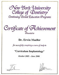 Zertifikat New York Uniersity College of Dentistry