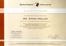 Zertifikat Champions® Implants