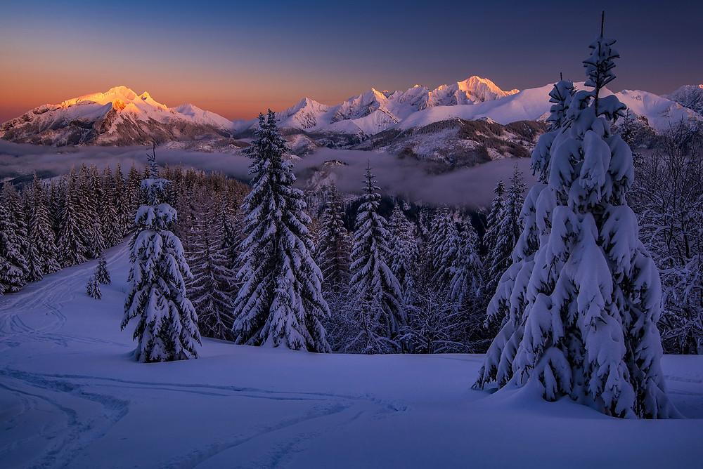 Výhľad na zimné Vysoké Tatry, Gesia Szyja