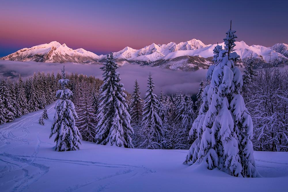 Vysoké Tatry za súmraku, Gesia Szyja