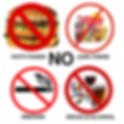 No smoking, drinking/drugging, eating unhealthy food sign