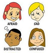 Cartoon figure depicting afraid, sad, distracted, and confused