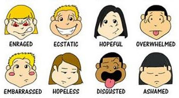 Cartoon figures depicting enraged, ecstatic, hopeful, overwhelmed, embarrassed, hopeless, disgusted and ashamed