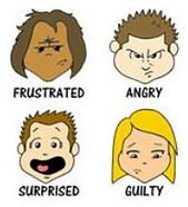 Cartoon figures depicting frustrated, angry, surprised, and guilty