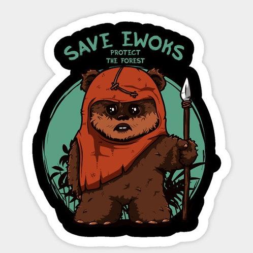 Sticker autocollant SAVE AN EWOK | Sélection exclusive GREENUIT