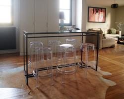 Table haute en verre