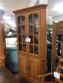 Amish Oak Corner Cabinet