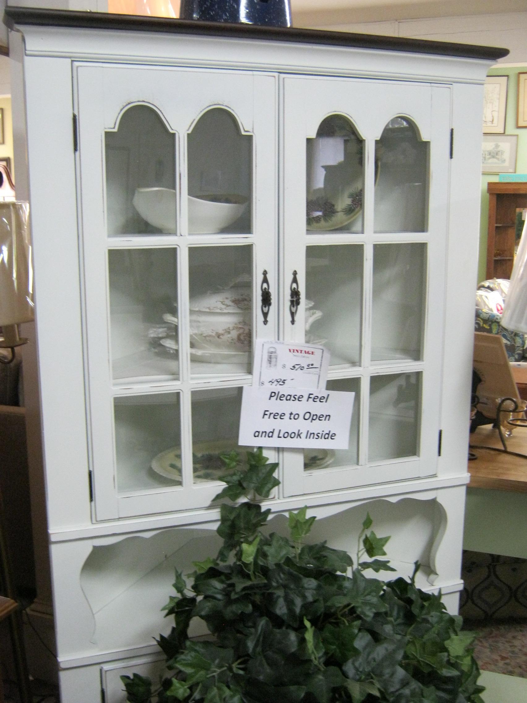 White Vintage Corner Cabinet