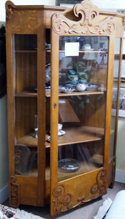 Carved Oak Corner Cabinet