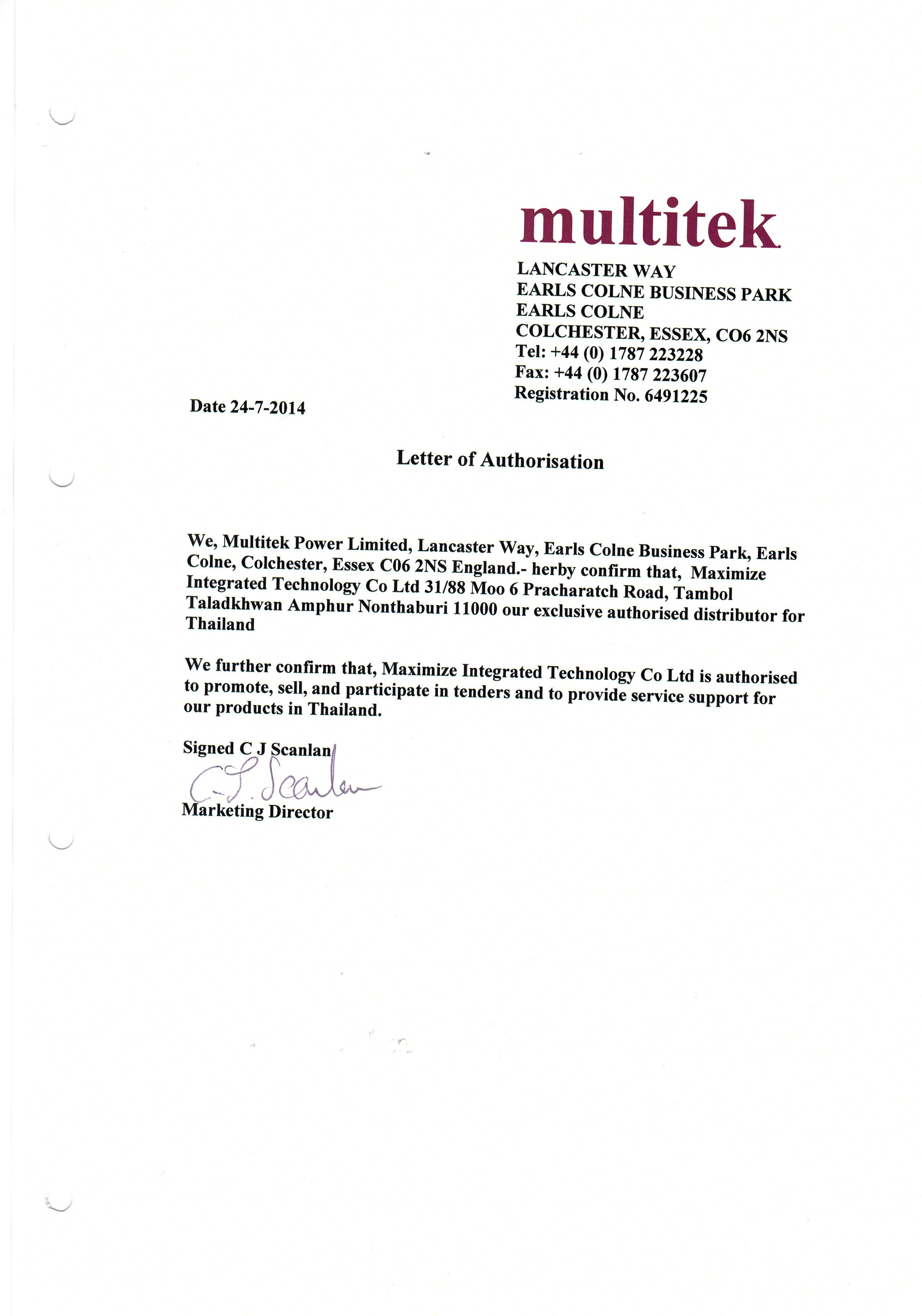 Distributor Letter