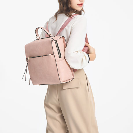 Pink Vegan Leather Backpack
