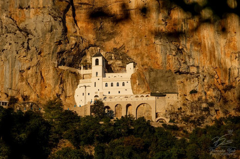 Ostrog Monastery at sunset