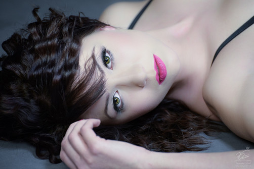 Green eyes and porcelain skin