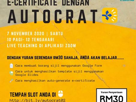 Jom Belajar Buat E-Certificate dengan AUTOCRAT