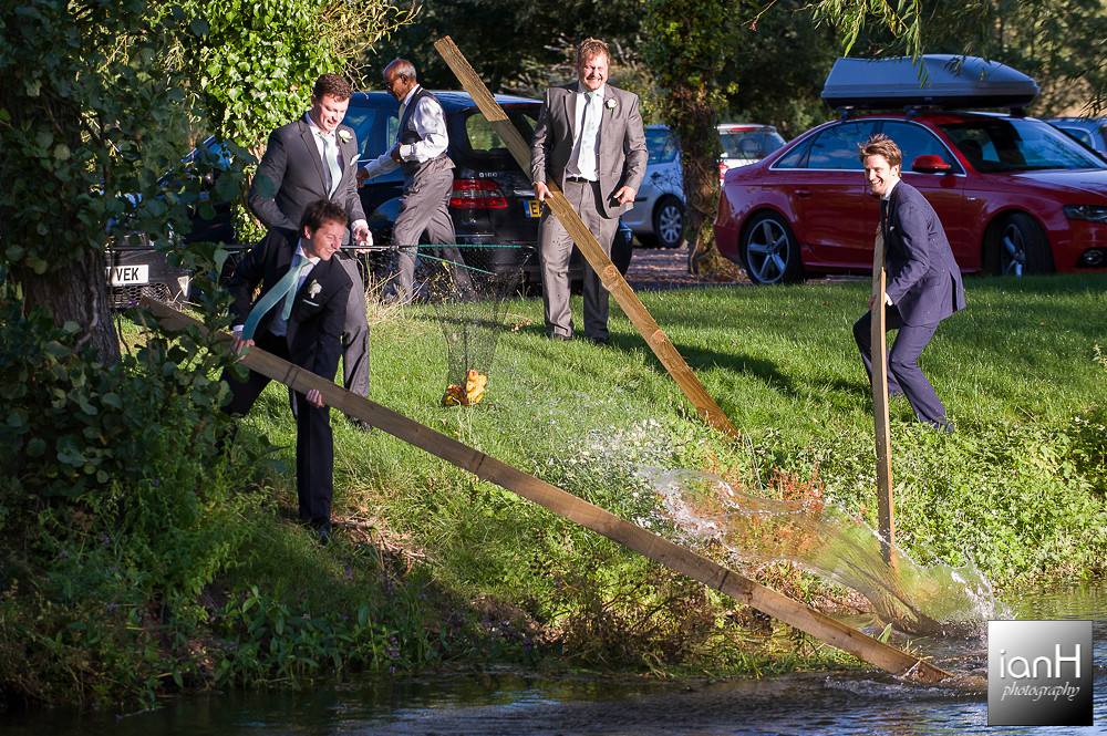 Ushers and ducks at Sopley Mill wedding