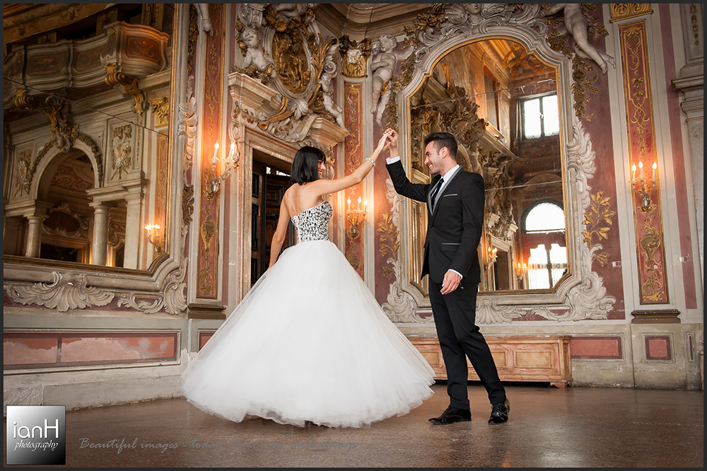 Dancing in Venice with a Bournemouth wedding photographer - beautiful ballroom