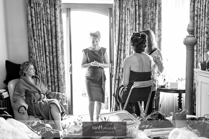 Bridal preparations for a Studland wedding