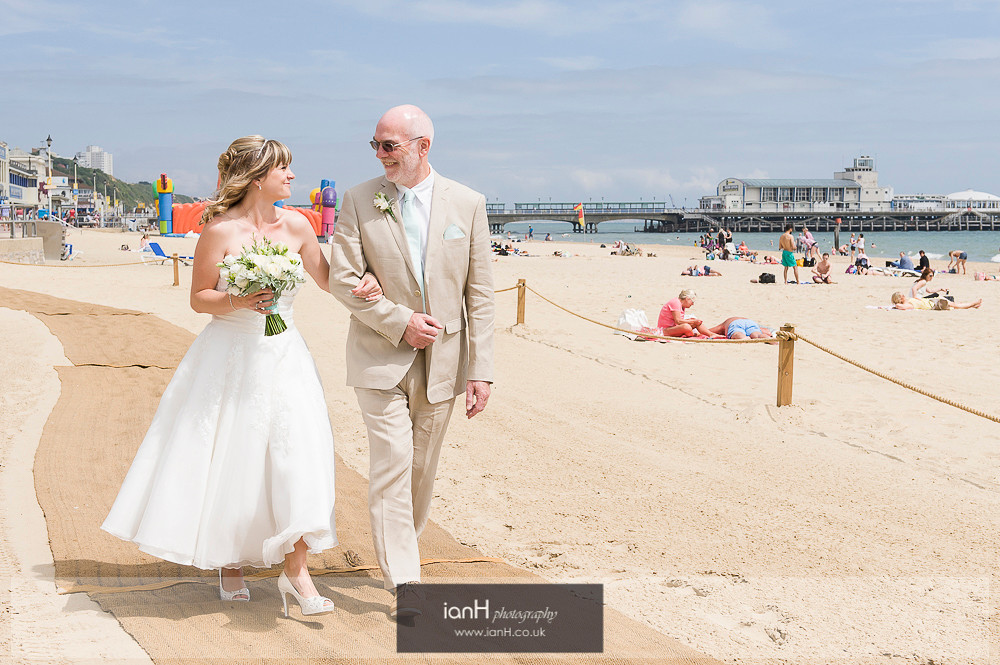 Bride and Father at Bournemouth beach wedding