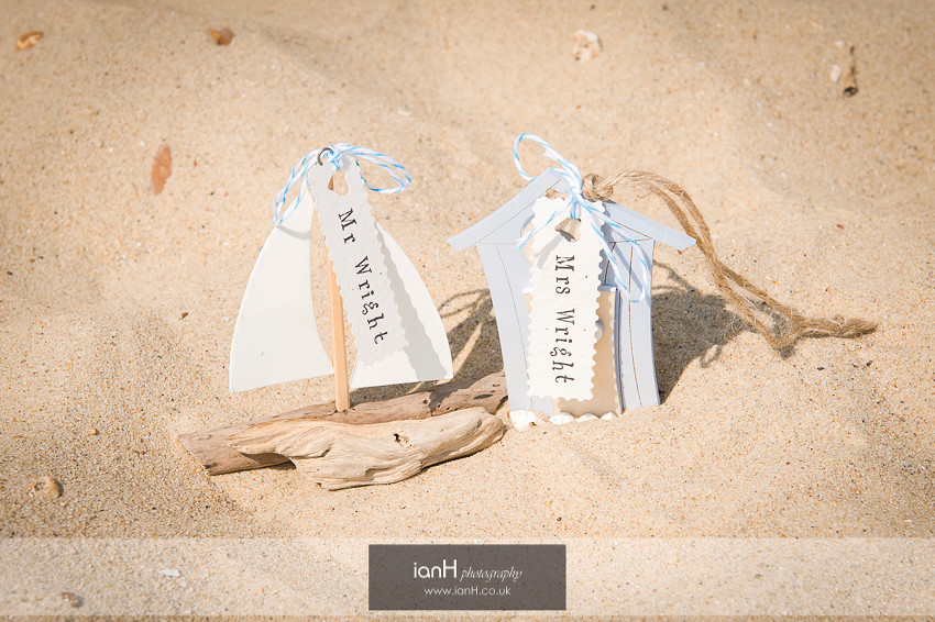 Table settings for a Bournemouth beach wedding