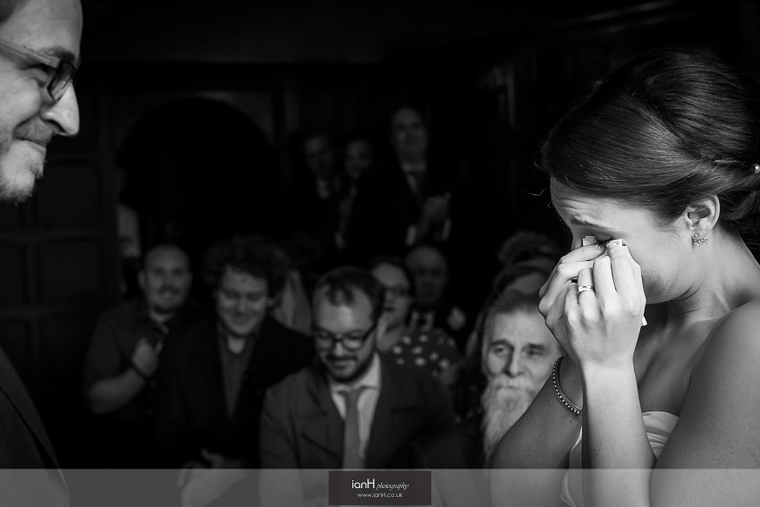 Bride crying at her Bournemouth wedding