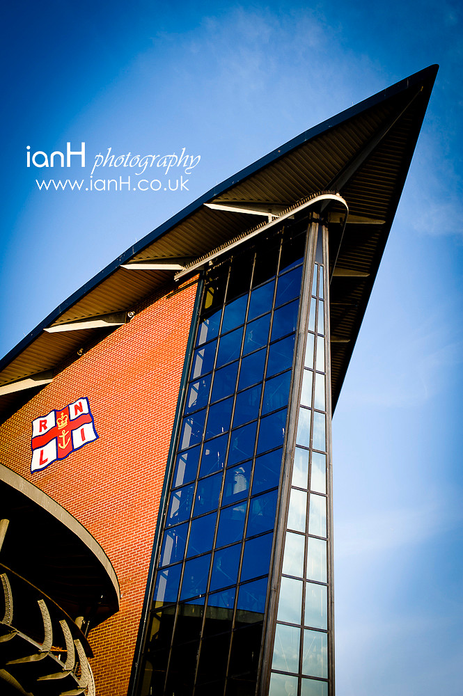Striking architecture of the RNLI Lifeboat College in Poole