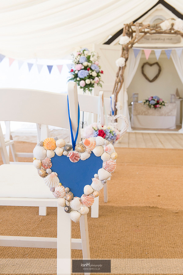 Pew ends at Bournemouth beach wedding