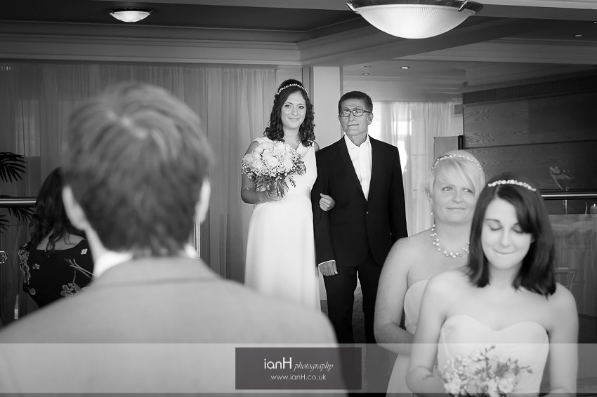 Bride arrives with her Father at the Riviera Hotel Bournemouth