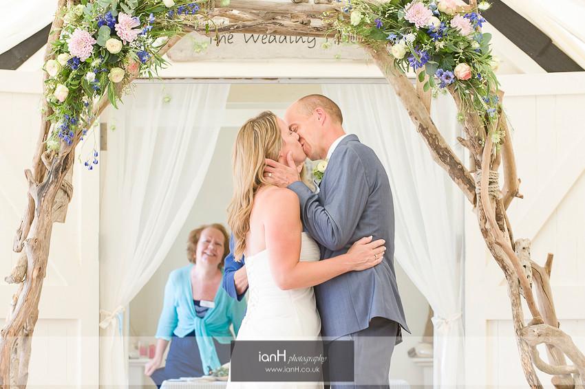 Beach Weddings Bournemouth Bride and Groom kiss