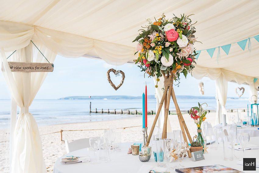 Arcade Flowers Ringwood display at Beach Weddings Bournemouth