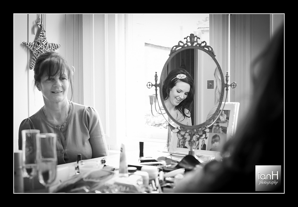 Beach Weddings Bournemouth Bridal Prep - looking in the mirror